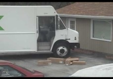 FedEx Guy Launches Boxes Off Truck