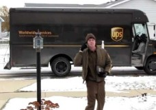UPS Driver Throws Package Into the Snow (Champaign, IL)