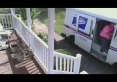 Lazy USPS Postal Worker Driver On Lawn To Deliver Package (ORIGINAL)