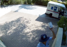 USPS Postal Worker Launches Small Package Over Fence