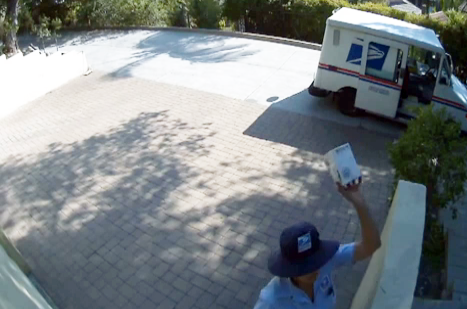 Mail Lady Throwing Package Over the Fence