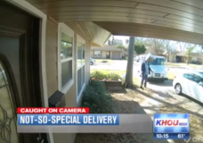 NW Houston Mailman Throws Package Onto Porch
