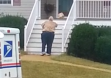 Lazy Postal Worker Throwing Packages Up Stairs to Porch