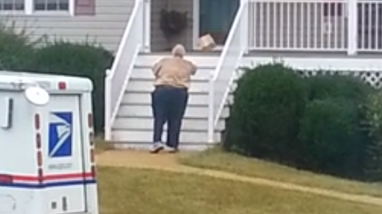 Obese Postal Worker Throws Packages Up Stairs