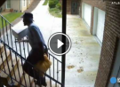 Atlanta Mailman Tosses a Cermaic Mug Up a Flight of Stairs