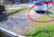 OKLAHOMA CITY – USPS Postal Worker Tosses Package Like a Ball